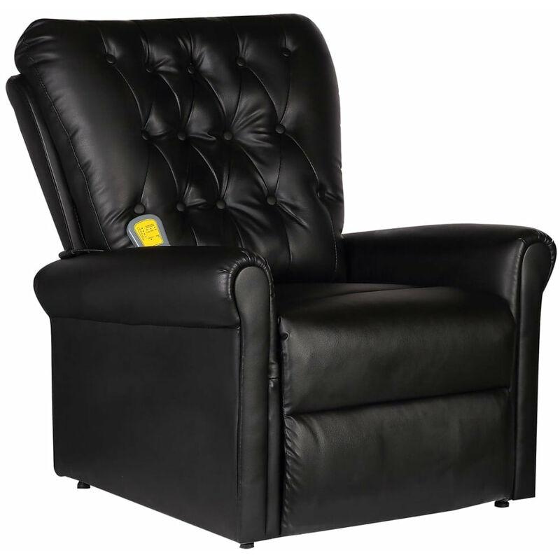 Helloshop26 - Fauteuil de massage électrique confort relaxant massant détente cuir artificiel réglable noir - Noir