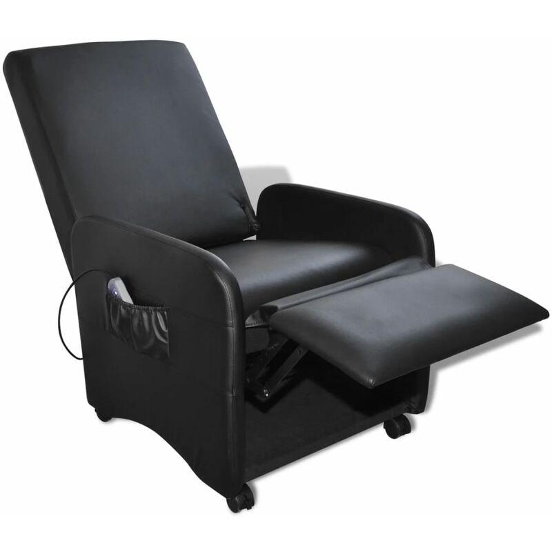 Fauteuil de massage électrique confort relaxant massant détente cuir synthétique réglable noir Noir