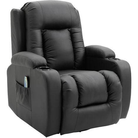 Fauteuil de massage et relaxation électrique chauffant inclinable repose-pied télécommande noir