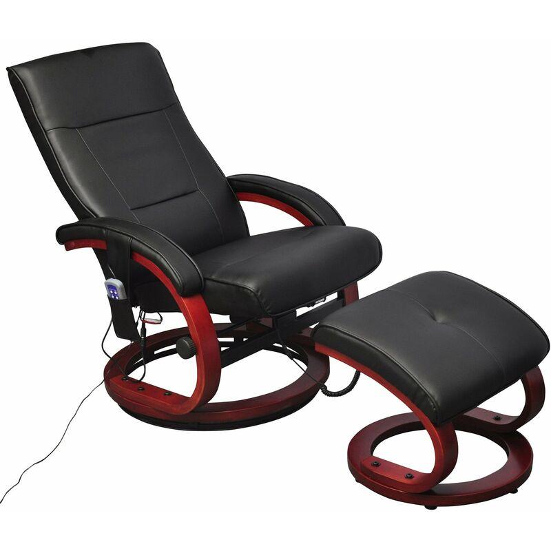 Fauteuil de massage confort relaxant massage massant détente noir avec repose pied - Noir