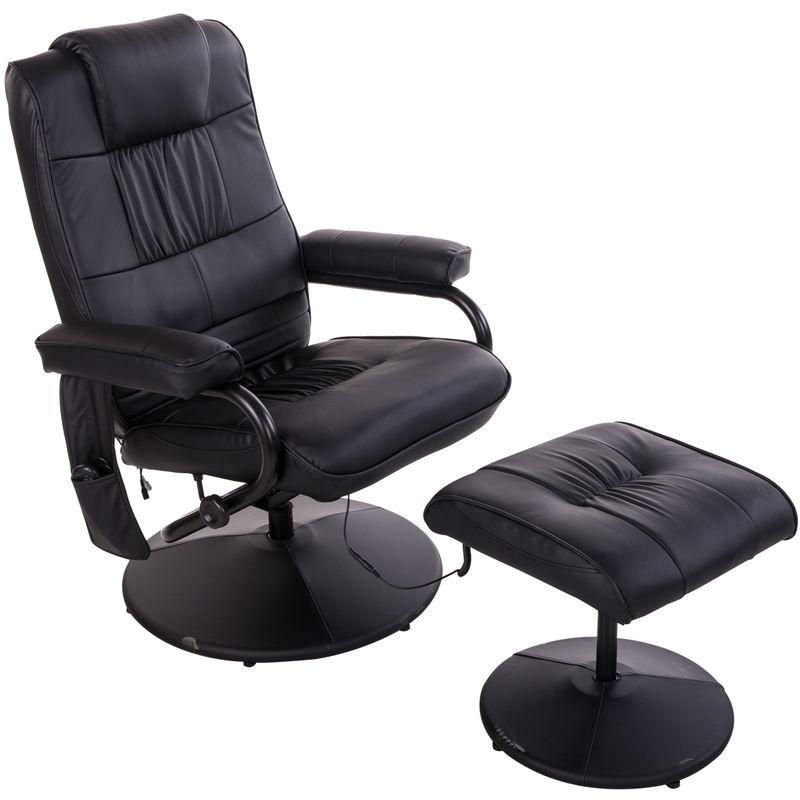 Fauteuil de massage relaxation électrique chauffant inclinable 145° avec repose-pied + pochette télécommande noir - HOMCOM