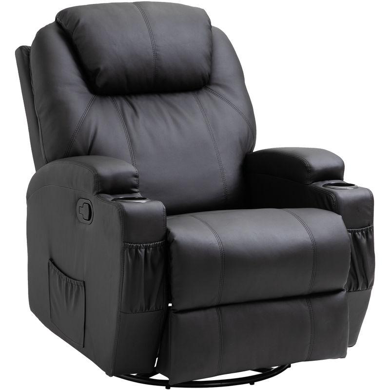 Homcom - Fauteuil de massage relaxation électrique chauffant inclinable pivotant 360° avec repose-pied ajustable P.U noir