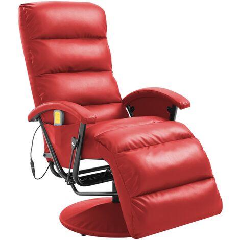 Fauteuil de massage TV Rouge Similicuir