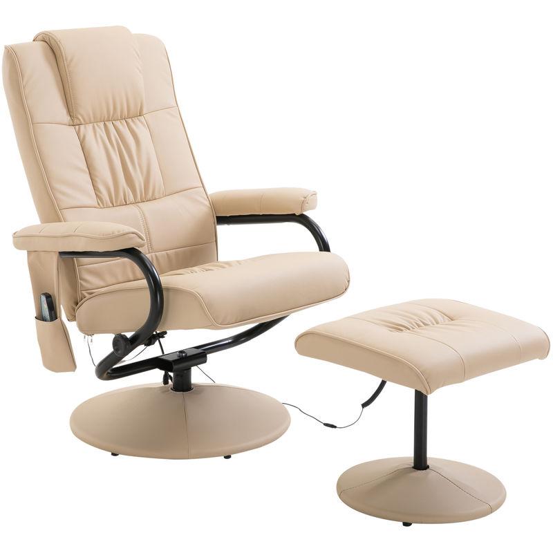 Fauteuil de massage vibration electrique relaxation avec chauffage beige - HOMCOM