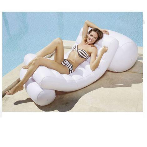 Fauteuil de piscine recto-Verso 130x75 KERLIS - Blanc - Extérieur - Blanc