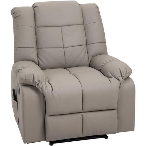Fauteuil de Relaxation Électrique Fonction de Massage 8 Points Chauffant Fauteuil Inclinable Télécommande revêtement synthétique PU Gris