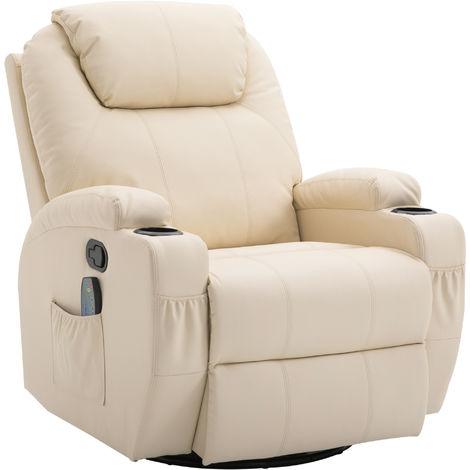 Fauteuil de relaxation massant chauffant et vibrant inclinable pivotant à 360° revêtement synthétique 84L x 94l x 109Hcm beige