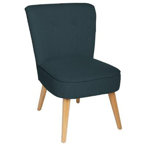 fauteuil design en bois et polyester coloris bleu foncé - dim : l.51 x l.58  x h.76 cm