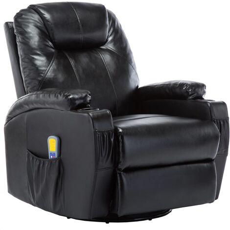 Fauteuil électrique à bascule de massage confort relaxant massant détente similicuir noir - Noir