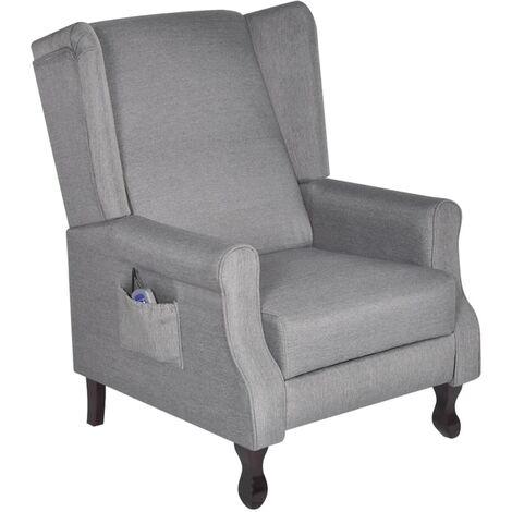 Fauteuil électrique de massage confort relaxant massant détente réglable tissu gris