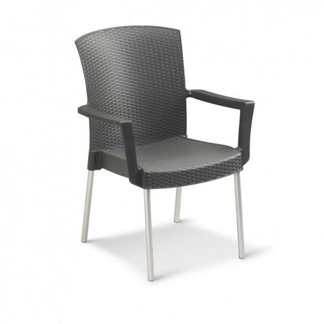 FAUTEUIL EMPILABLE INEO INT200 60X61X89 coloris anthracite pieds alu rond - anthracite