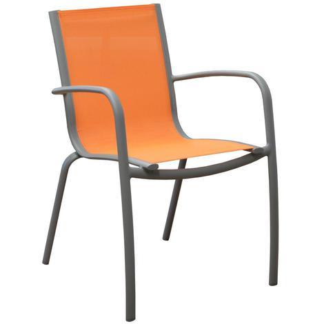 Fauteuil empilable Linea en alu et textilène coloris taupe/orange -  Proloisirs