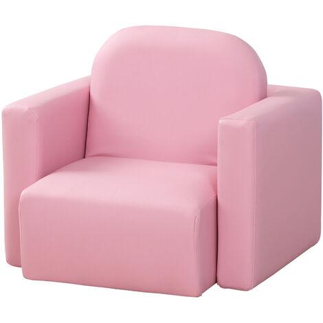 Fauteuil enfant ensemble chaise table 2 en 1 pour enfant revêtement synthétique rose