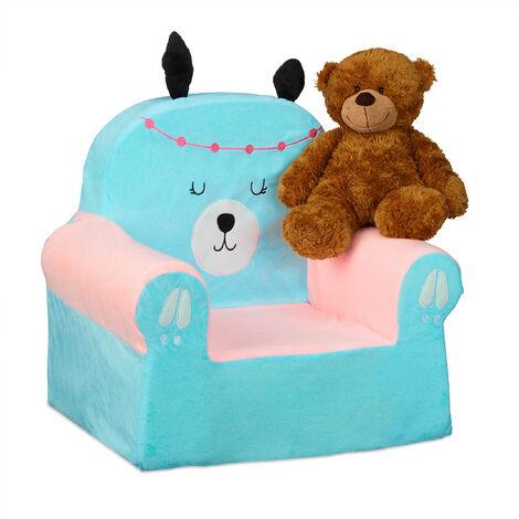 Fauteuil enfants, sofa moelleux pour garçons, filles, bébés, HlP 47x52x37 cm, choix couleurs, bleu pâle,rose