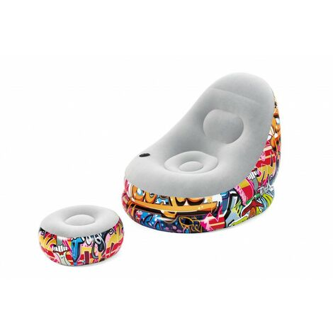 Fauteuil et repose-pieds gonflables - Graffiti Comfort Cruiser - 121 x 100 x 86 cm - Livraison gratuite