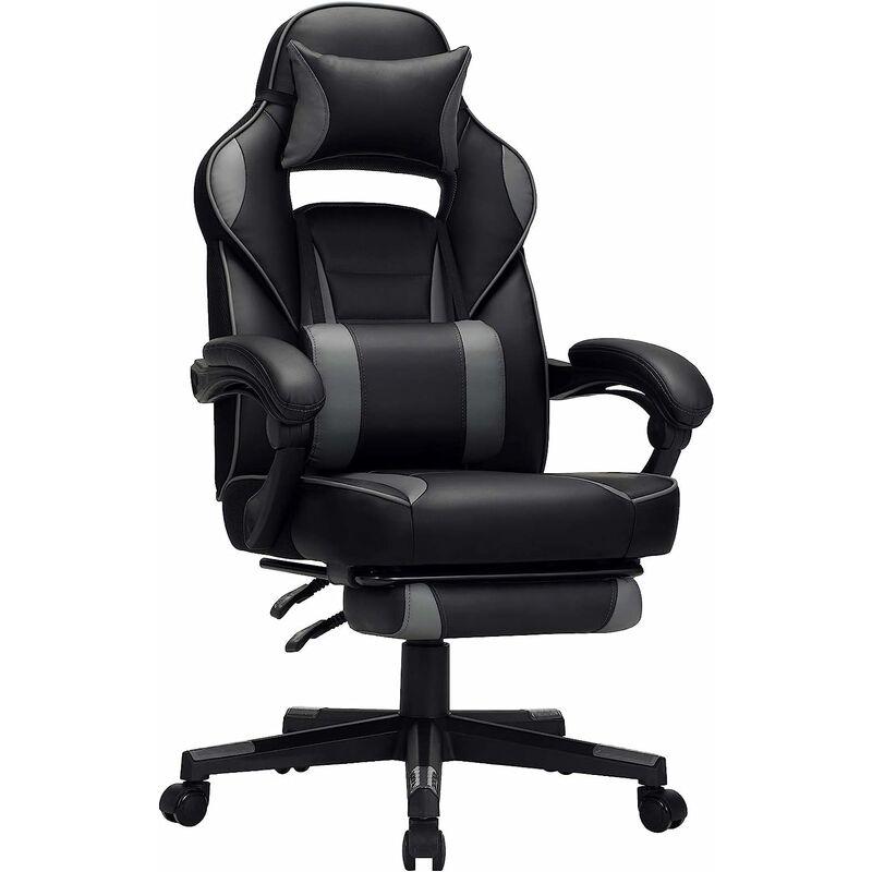 Fauteuil gamer, Chaise gaming, Siège de bureau réglable, avec repose pieds télescopique, ergonomique, mécanisme basculent, appui tête, support