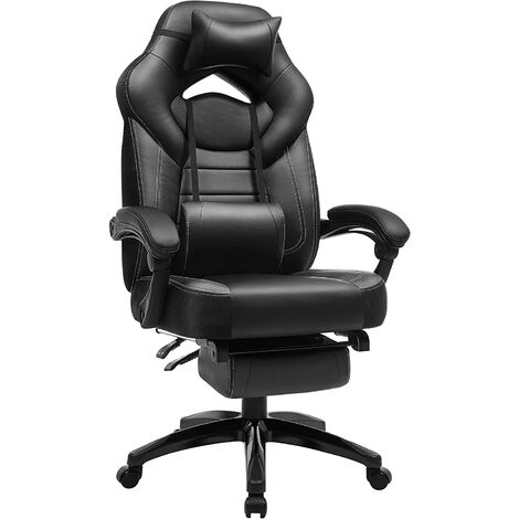"""main image of """"Fauteuil gamer ergonomique, Chaise gaming, Fauteuil de bureau, avec repose-pieds télescopique, appui-tête réglable, support lombaire, capacité de charge 150 kg, Noir OBG077B01 - Noir"""""""
