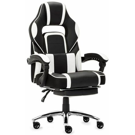 """main image of """"Fauteuil Gaming Chaise de Gamer Siège Ergonomique Chaise Gaming avec Repose-Pied Pliable, Blanc - IntimaTe WM Heart"""""""