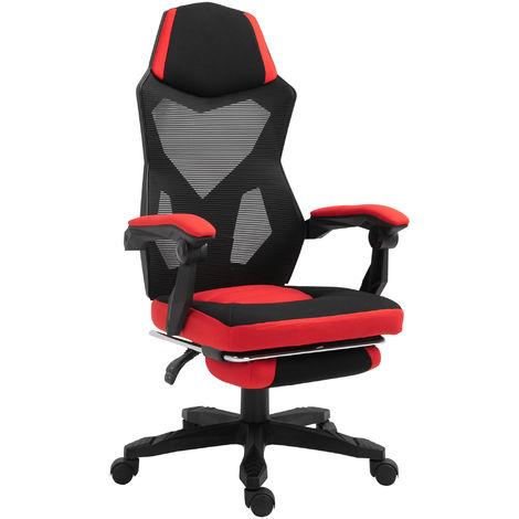 Fauteuil gaming chaise gamer dossier et hauteur réglable roulettes pivotantes repose-pied tissu 58L x 72l x 108-118H cm rouge noir