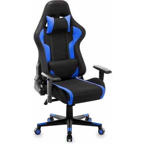 """main image of """"Fauteuil Gaming en Tissu, Racing Chaise de Bureau Ergonomique,Siège Pivotant , Bleu - IntimaTe WM Heart"""""""