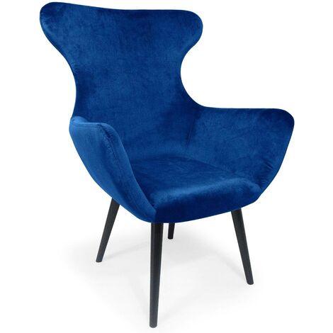 Fauteuil Geo Velours Bleu - Bleu