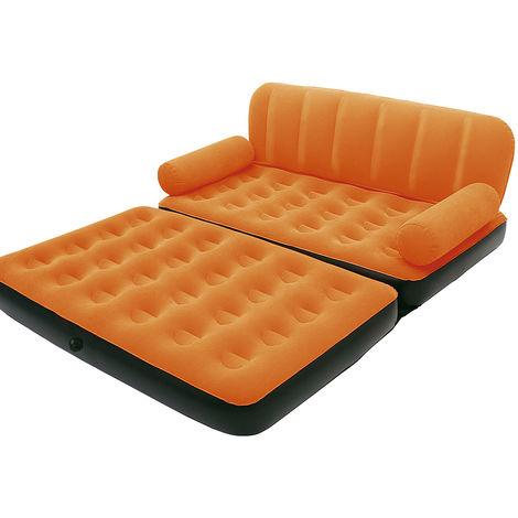 Fauteuil gonflable 2 personnes Canapé convertible matelas pneumatique Pompe Orange