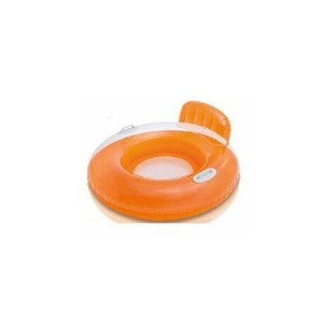 Fauteuil gonflable rond avec dossier - Orange - Poignées blanches