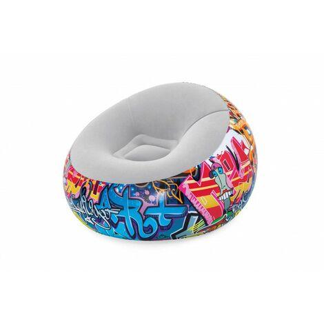 Fauteuil gonflable rond - Graffiti Inflate-a-Chair - 112 x 112 x 66 cm - Livraison gratuite