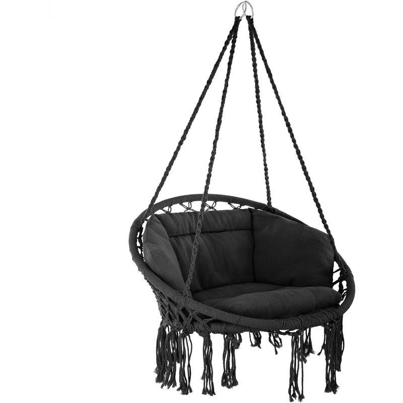 Fauteuil Hamac suspendu design 1 Place Extérieur intérieur avec Coussin confortable en Coton Noir