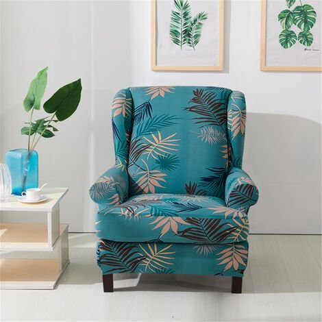 Fauteuil Imprimé Wingback Wing Arm Chair Sofa Recliner Cover Stretch SlipCover (Vert, Style A)
