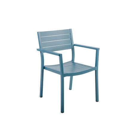 fauteuil jardin alu empilable bleu clair