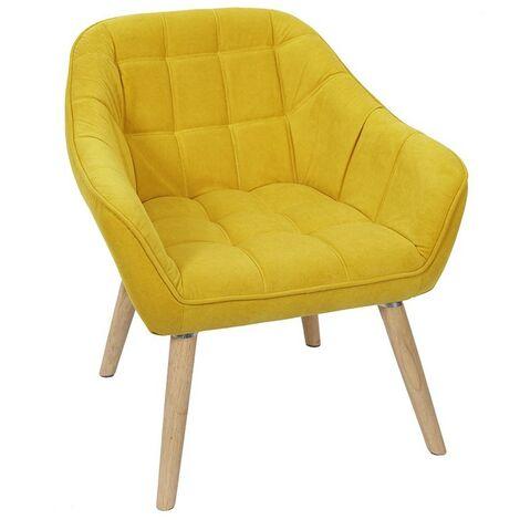Fauteuil jaune Magnus pieds bois - Jaune moutarde