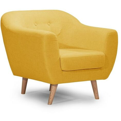 Fauteuil LEONARDO en tissu jaune moutarde - Jaune