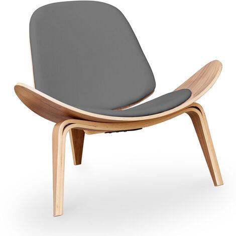 Fauteuil lounge CH07 Simili Cuir Wegner Style Gris foncé