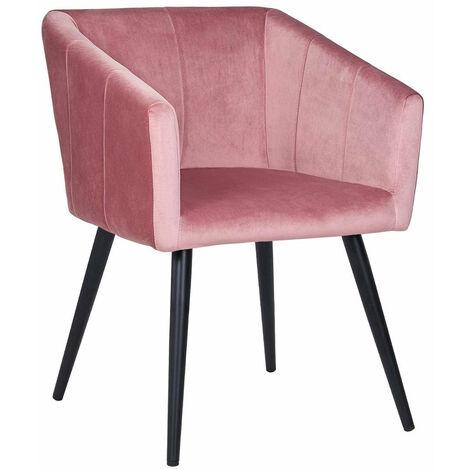 Fauteuil lounge chaise salle manger en tissu rose avec Chaises fauteuil salle a manger