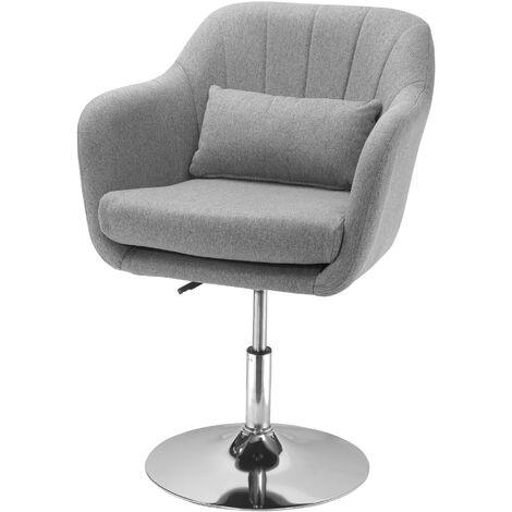 """main image of """"Fauteuil lounge design grand confort coussins lombaires hauteur réglable pivotant 360° piètement métal chromé lin gris - Gris"""""""