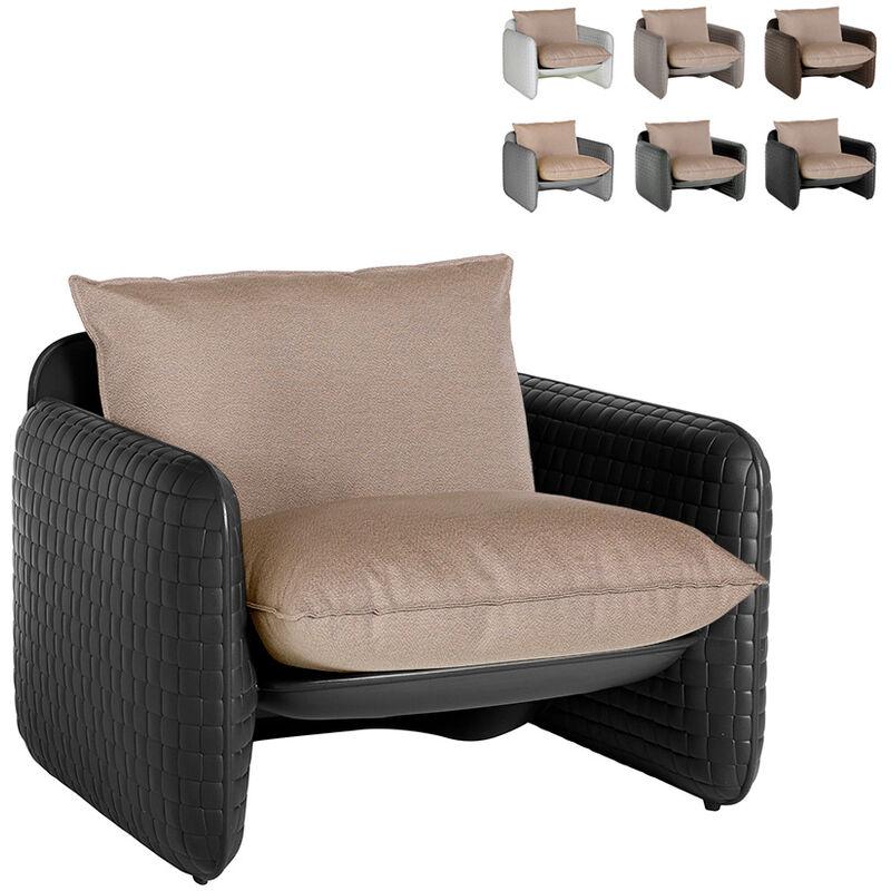 Fauteuil lounge en cuir design moderne Mara intérieur et extérieur   Couleur: Noir - Slide