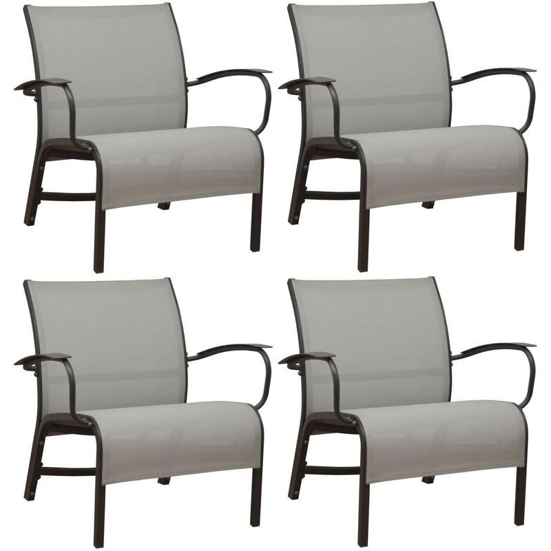 Fauteuil lounge en aluminium Linea (Lot de 4) graphite et perle - Graphite et perle