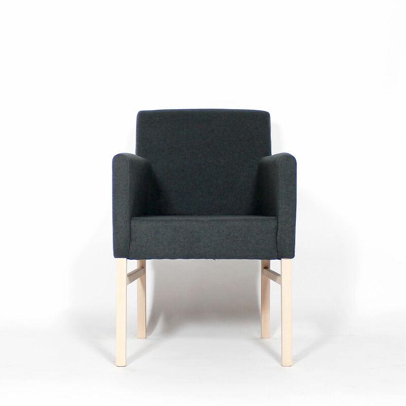 Made In Meubles - Fauteuil moderne pieds bois massif - Gris foncé