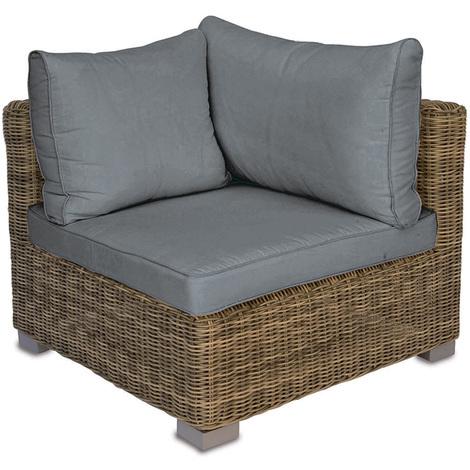 Fauteuil modulable de jardin côté droit en tressage Wicker Ø 5 mm avec coussin d'assise et dossier - Dim : H 67 x L 84 x P 77 cm