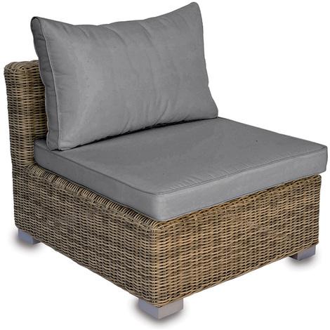 Fauteuil modulable de jardin en Tressage Wicker Ø 5 mm avec coussin d'assise et dossier - Dim : H 67 x L 86 x P 86 cm