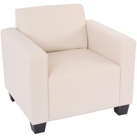 Fauteuil modulaire Lyon, fauteuil lounge, similicuir ~ crème