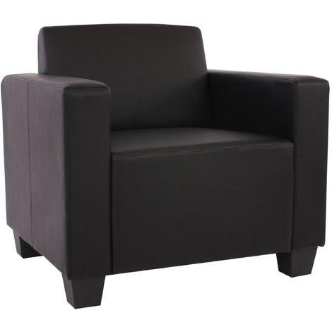 Fauteuil modulaire Lyon, fauteuil lounge, similicuir ~ noir