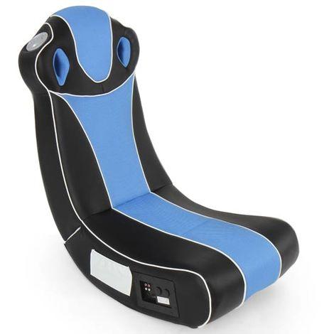 Fauteuil Multimédia Gamer Chaise avec Système Audio en Simili Cuir Haut-Parleurs Intégrés Pliable Ergonomique Bleu Noir
