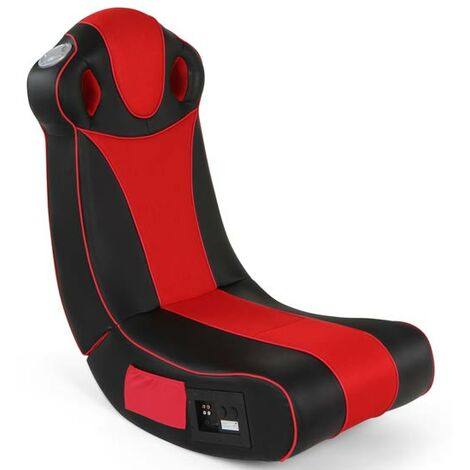 Fauteuil Multimédia Gamer Chaise avec Système Audio en Simili Cuir Haut-Parleurs Intégrés Pliable Ergonomique Rouge Noir