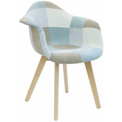 Fauteuil patchwork bleu clair - Bleu