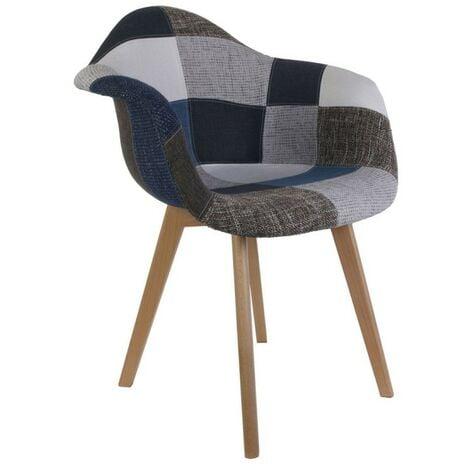 Fauteuil Patchwork bleu gris - Multicolore