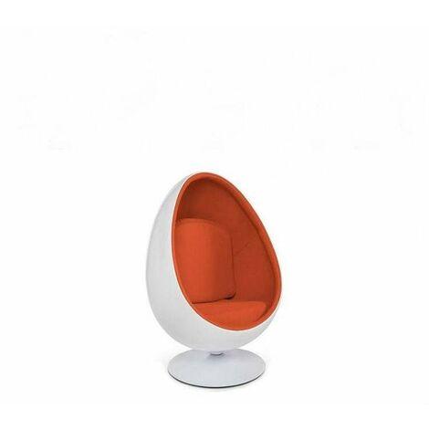Fauteuil pivotant Oeuf, Egg chair coque blanche / intérieur feutrine orange Design 70's. - orange