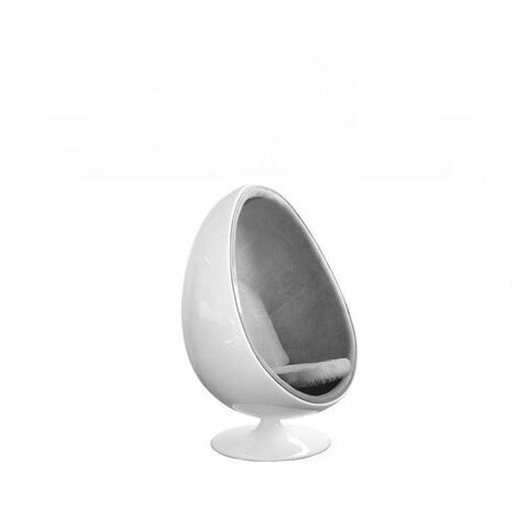 Fauteuil pivotant Oeuf, Egg chair coque blanche / intérieur tissu gris. Design 70's. - gris