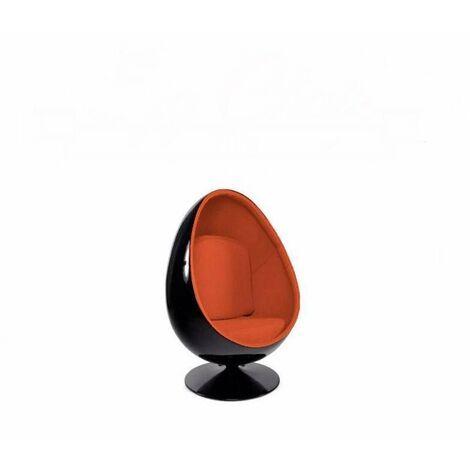 Fauteuil pivotant Oeuf, Egg chair coque noir / intérieur feutrine orange. Design 70's. - orange